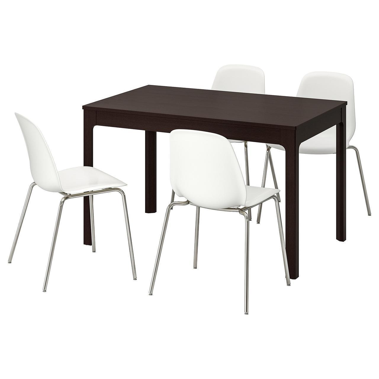 Комплект для кухни (стол и 4 стула) IKEA EKEDALEN / LEIFARNE 120/180 см коричневый белый 492.212.98