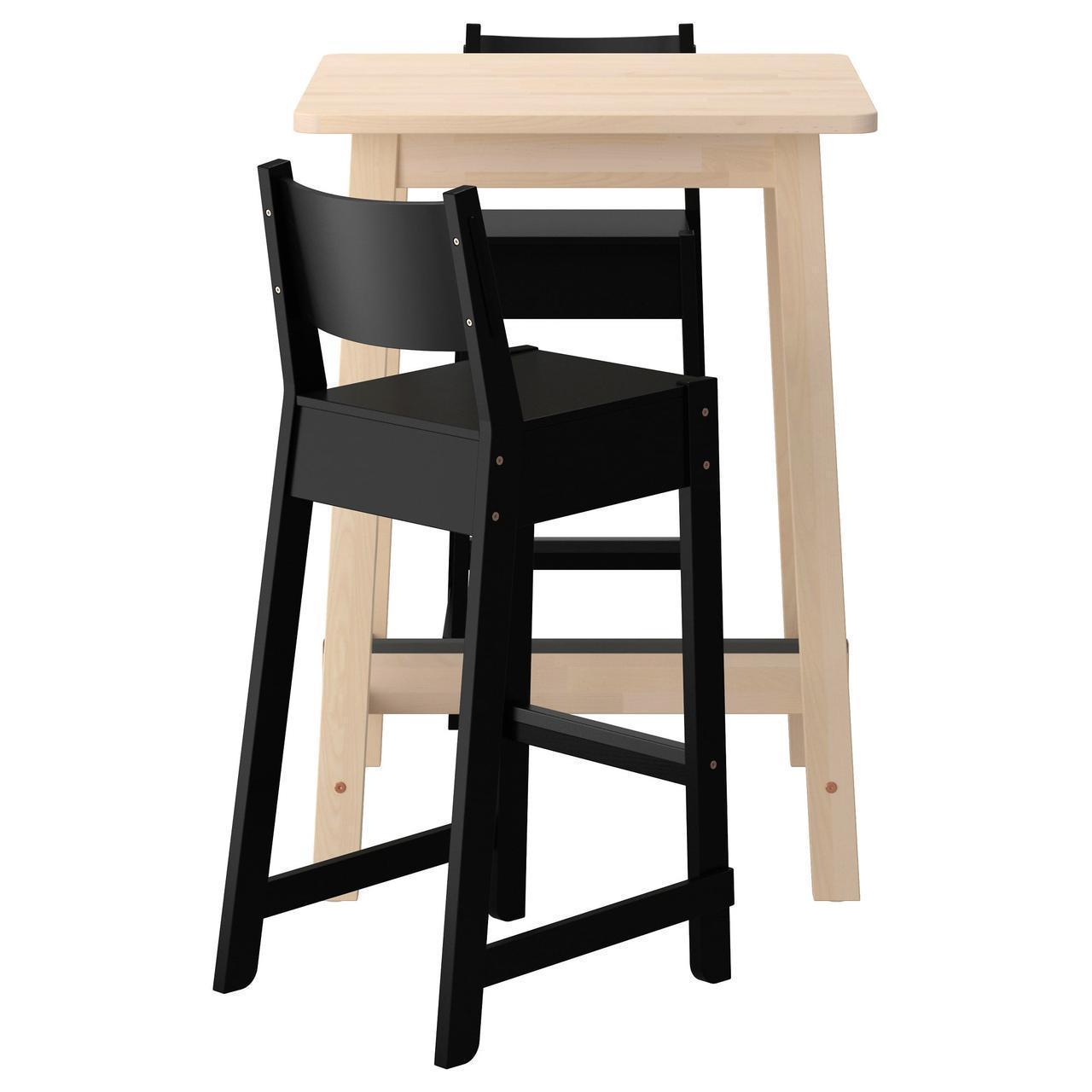 Комплект для кухни (стол и 2 стула) IKEA NORRÅKER / NORRÅKER 74 см береза черный 192.249.91