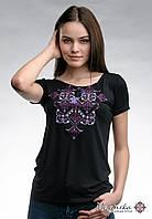 Оригінальна жіноча вишита футболка на літо у чорному кольорі «Елегія (фіолетова вишивка)», фото 1