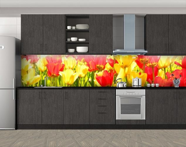 Кухонный фартук Желтые и красные тюльпаны, Пленка самоклеящаяся для скинали, Цветы, желтый