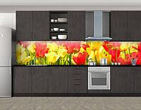 Кухонный фартук Желтые и красные тюльпаны, Пленка самоклеящаяся для скинали, Цветы, желтый, фото 1