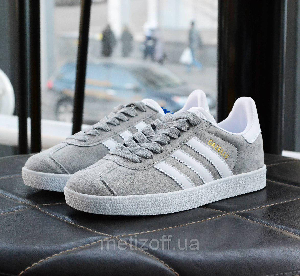 053fb53eb Женские кроссовки Adidas Gazelle Light Grey/White (реплика): продажа ...