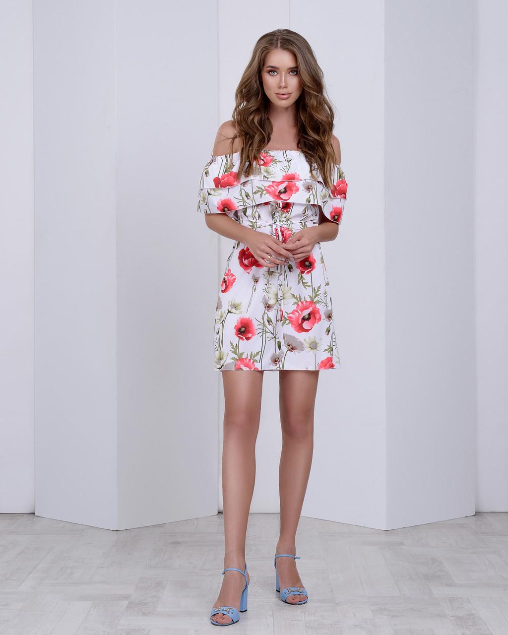 Легкое летнее платье с двумя воланами