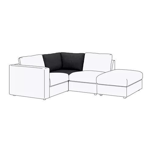 Секция угловая для модульного дивана IKEA VIMLE Tallmyra черный серый 092.535.78