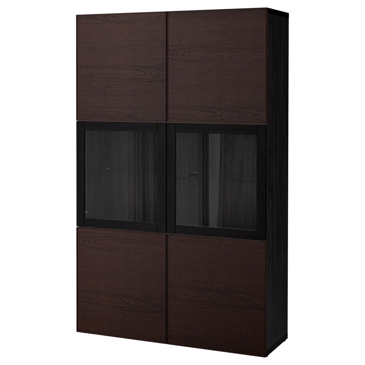 Сервант IKEA BESTÅ 120x40x192 см Inviken черный коричневый 792.055.03