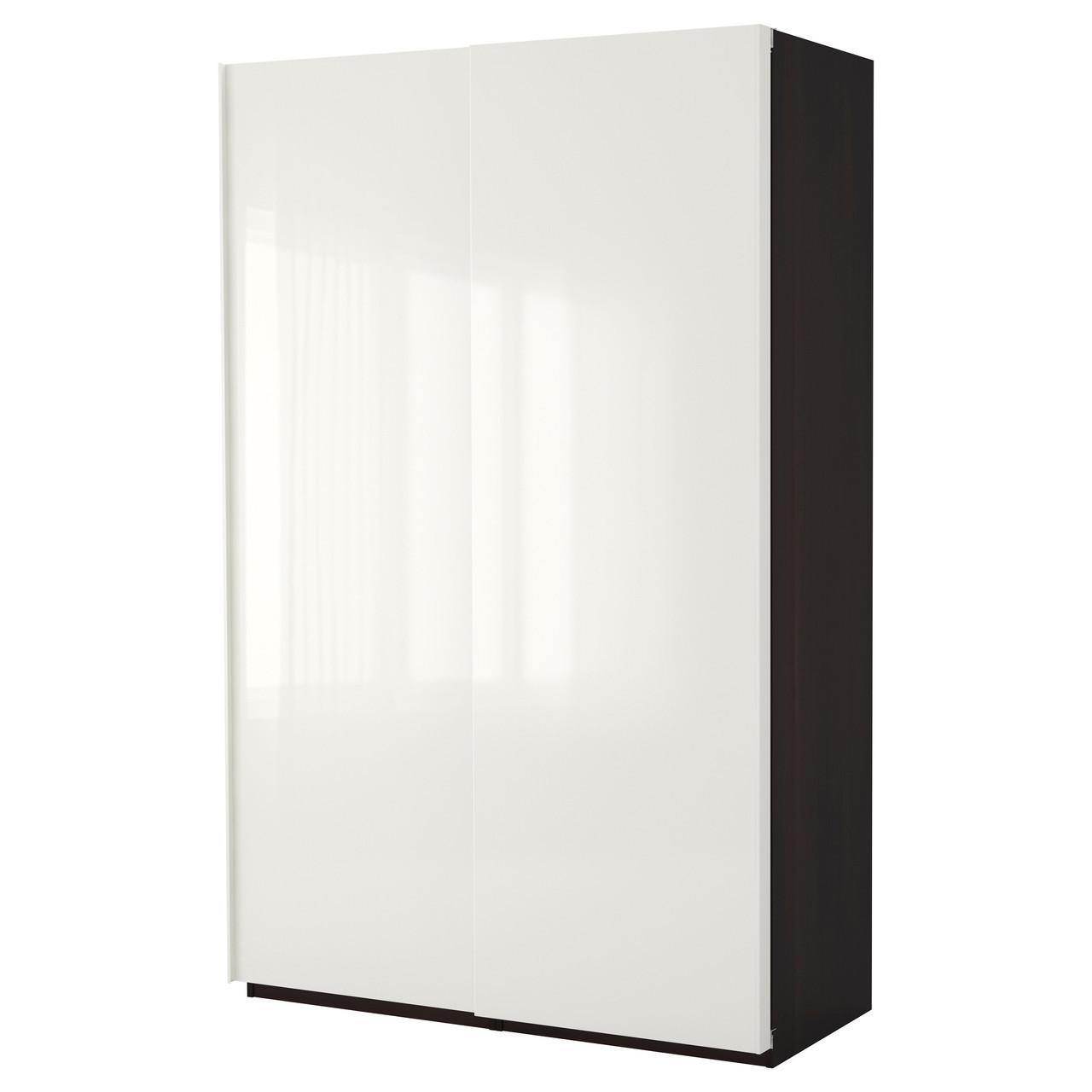 Шкаф IKEA PAX Hasvik белый черно-коричневый 690.256.92