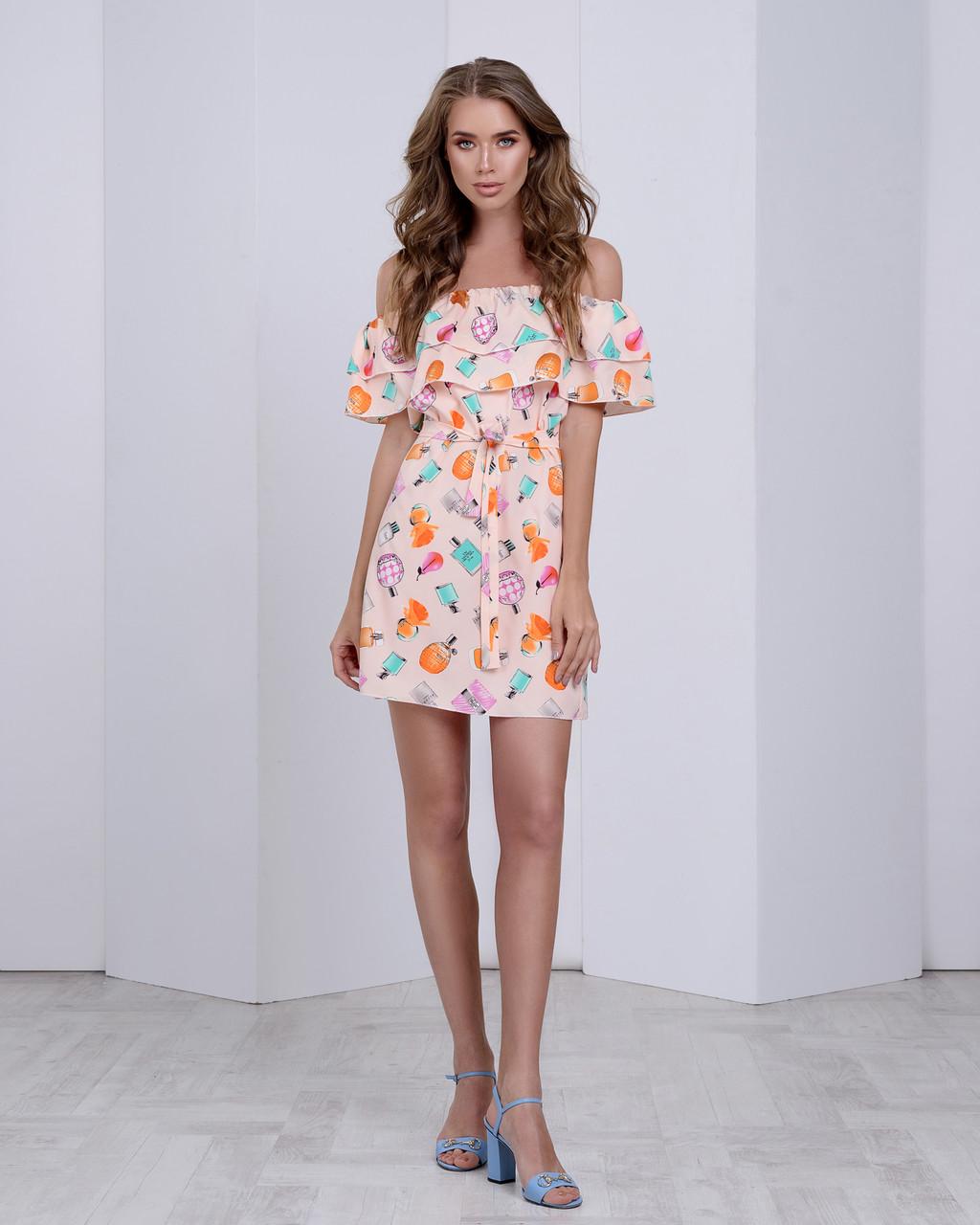 85951f9c959d8a8 Летнее Шифоновое Платье с Двумя Рюшами — в Категории