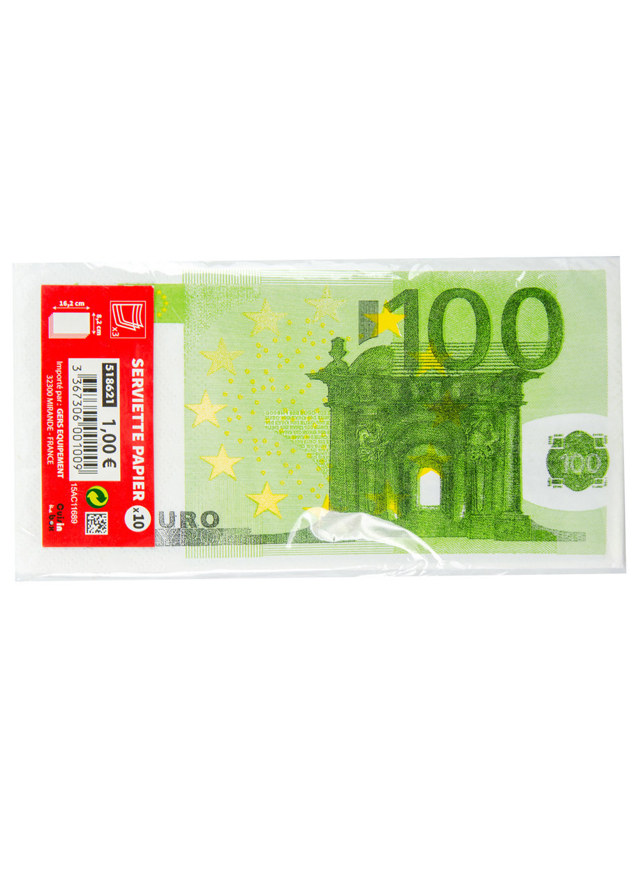 Бумажные салфетки 100 Euro (10шт) Penny 16,2х8,2см Зеленый