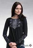 Трендова чорна жіноча вишита футболка із довгим рукавом «Сірий карпатський орнамент» , фото 1