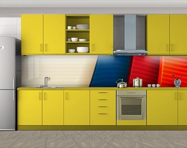 Кухонный фартук Разноцветные пластины, Самоклеящаяся стеновая панель для кухни, Абстракции, красный