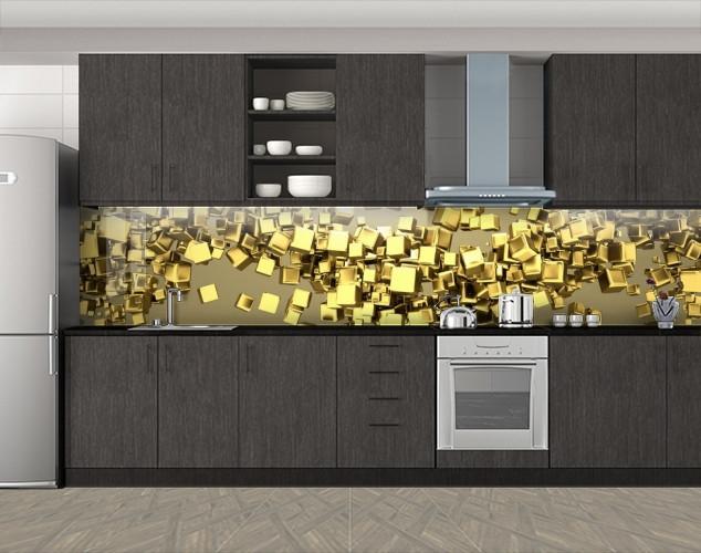 Кухонный фартук Золотые кубики, Фотопечать скинали на кухню, Абстракции, бежевый