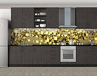 Кухонный фартук Золотые кубики, Фотопечать скинали на кухню, Абстракции, бежевый, фото 1