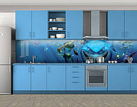 Кухонный фартук Акула из мультика, Стеновая панель для кухни с фотопечатью, Рисунки, синий, фото 1