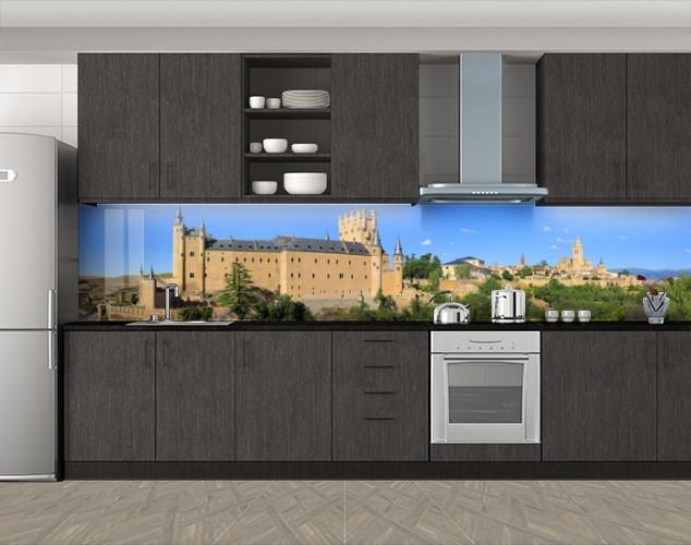 Кухонный фартук Замок с башнями, Фотопечать кухонного фартука на самоклейке, Архитектура, бежевый