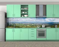 Кухонный фартук Степь с высоты полета, Кухонный фартук на самоклеящееся пленке с фотопечатью, Природа, зеленый