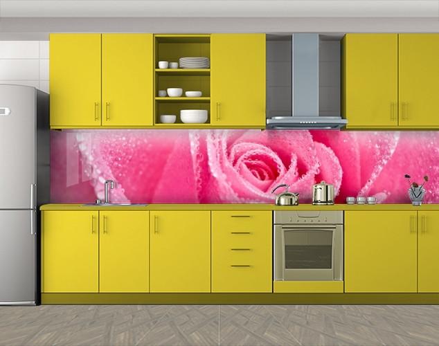 Кухонный фартук Лепестки розовой розы, Пленка для кухонного фартука с фотопечатью, Цветы, розовый