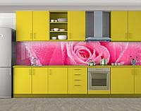 Кухонный фартук Лепестки розовой розы, Пленка для кухонного фартука с фотопечатью, Цветы, розовый, фото 1