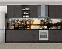 Кухонный фартук Закат на реке, Скинали с фотоизображением на самоклеящейся пленке, Природа, черный