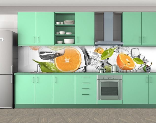 Кухонный фартук Цитрусы Апельсины и Лед, Стеновая панель с фотопечатью, Еда, напитки, белый