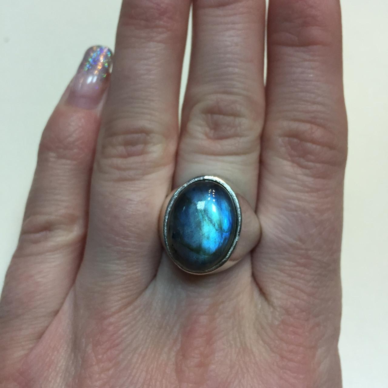Кольцо лабрадор в серебре перстень с лабрадором 18 размер Индия