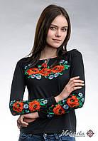 Чорна жіноча вишита футболка на довгий рукав в етно стилі «Макове поле»