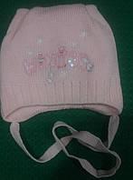 """Шапка детская для девочки на завязках """"Ушки"""" розовая, 40-42 размер."""