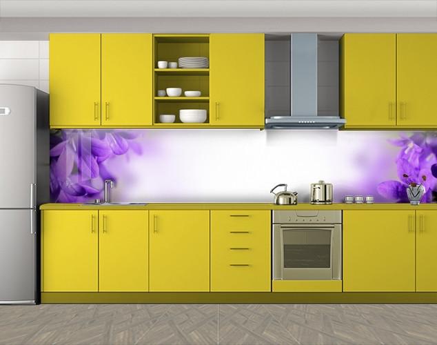 Кухонный фартук Сирень макро, Самоклеящаяся скинали с фотопечатью, Цветы, фиолетовый