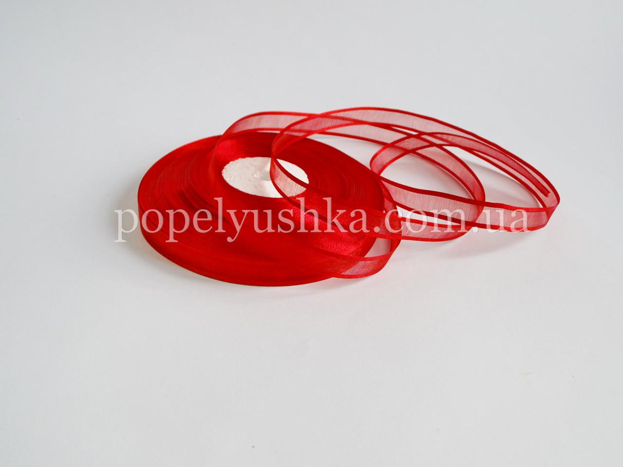 Органза з атласним краєм 1.2 см червона