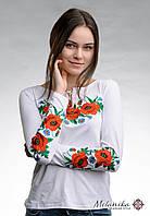 Біла жіноча вишита футболка на довгий рукав в українському стилі «Макове поле», фото 1