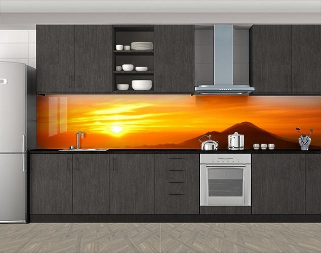Кухонный фартук Закат над горами, Самоклеящаяся скинали с фотопечатью, Природа, оранжевый
