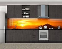 Кухонный фартук Закат над горами, Самоклеящаяся скинали с фотопечатью, Природа, оранжевый, фото 1
