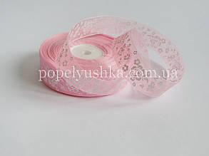 Стрічка органза з квітами рожева 2,5 см