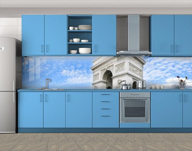 Кухонный фартук Триумфальная арка и небо, Скинали с фотоизображением на самоклеящейся пленке, Архитектура, голубой
