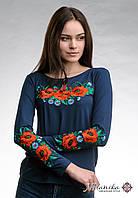 Жіноча вишита футболка темно-синього кольоруз довгим рукавом «Макове поле», фото 1