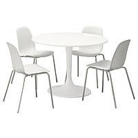 DOCKSTA / LEIFARNE Стол и 4 стула, белый, белый 691.614.77
