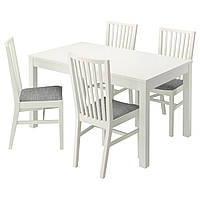 BJURSTA / NORRNÄS Стол и 4 стула, белый, Исунда серый 890.464.91