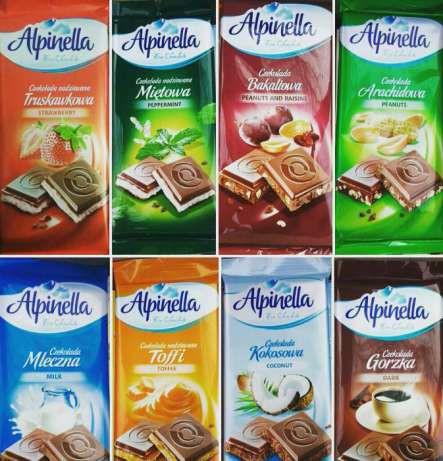 """Шоколад """"Alpinella"""" (Альпинелла ) в ассортименте 8 вкусовПольша, 100г"""