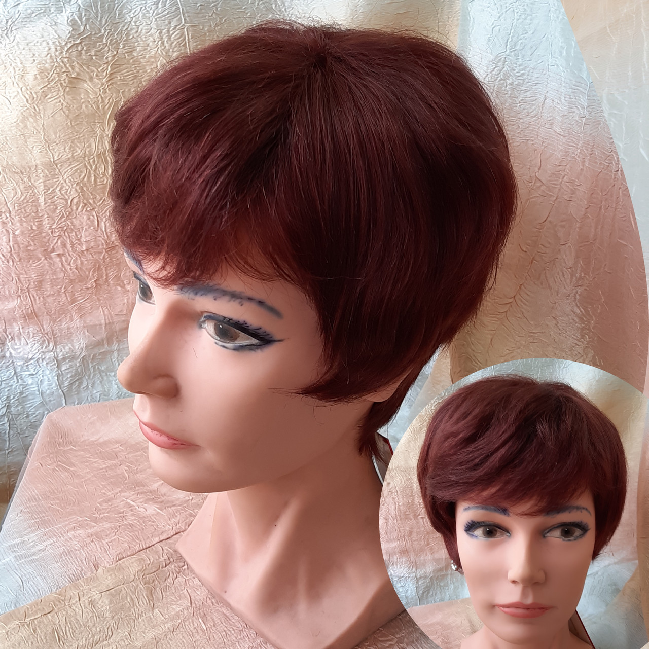 Короткий парик из термоволокна темно-медный Е-9318  -33А