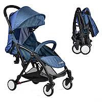 """Коляска прогулочная складная уникальный механизм - ручная кладь """"Коляска-сумка JOY"""", колеса-пенорезина, синяя"""