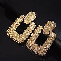 Модные украшения женские винтажные золотые металлические массивные серьги золотой цвет сережки / Распродажа!!!, фото 1