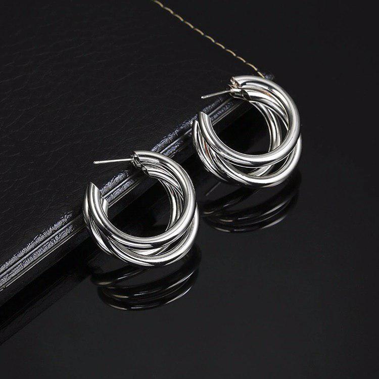 Модные украшения женские круглые серьги в форме колец вечерние серебряный цвет сережки / Распродажа!!!