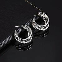 Модные украшения женские круглые серьги в форме колец вечерние серебряный цвет сережки / Распродажа!!!, фото 1