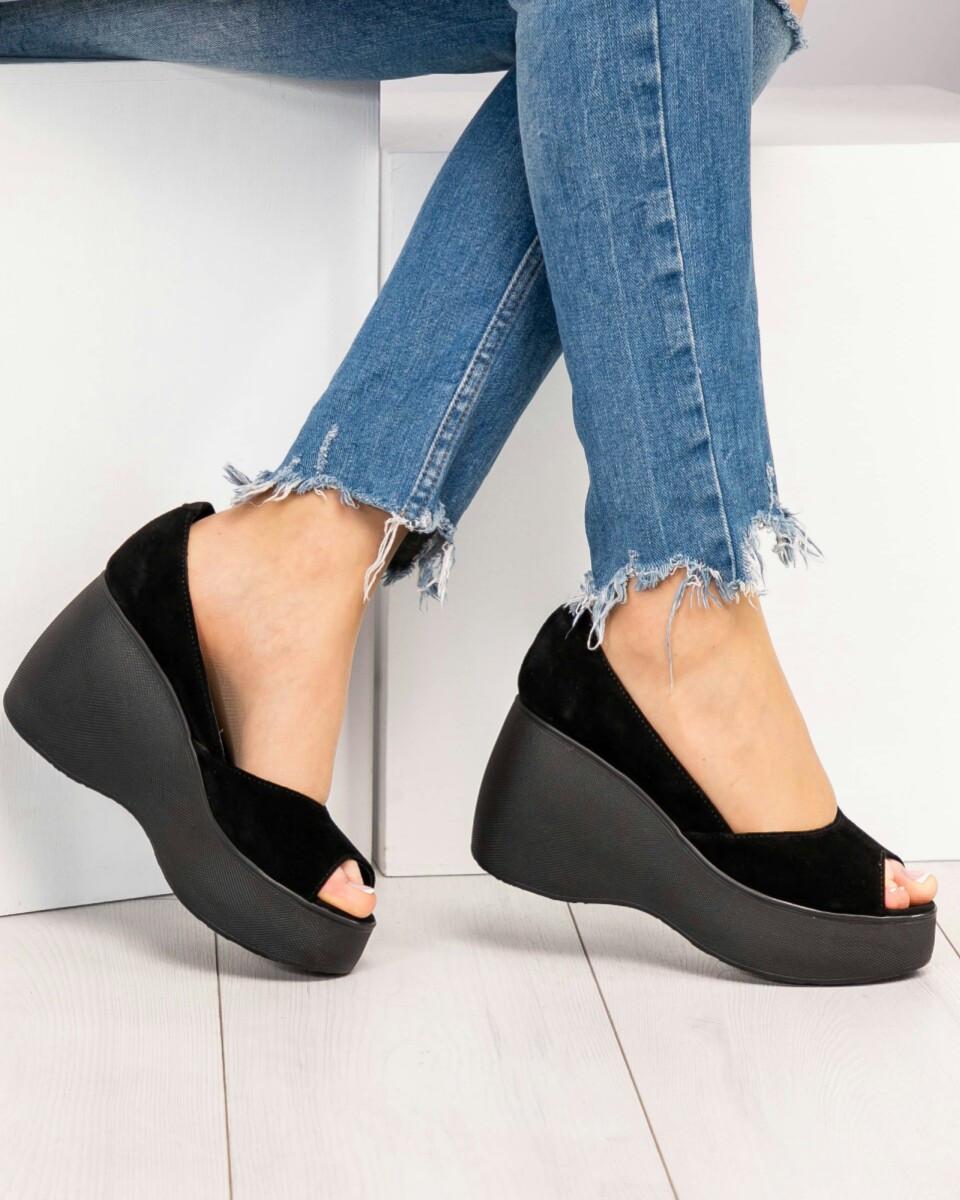321e4788b Женские черные туфли на танкетке замша открытый носок - Интернет-магазин  обуви TINA LUX в