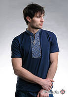 Класична чоловіча футболка із вишивкою «Козацька (синя вишивка)»