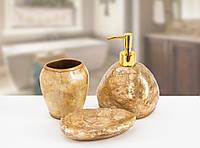 Комплект аксессуаров в ванную Irya Sedef gold золотой (3 предмета)