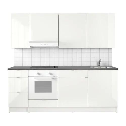 Кухонний гарнітур IKEA KNOXHULT 220x61x220 см білий глянець чорний 691.804.71