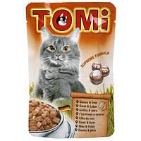 TOMi goose liver ТОМИ ГУСЬ ПЕЧЕНЬ консервы для кошек, влажный корм, пауч 100г