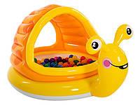 Детский надувной бассейн Intex 57124, Ленивая улитка, навес, надувное дно