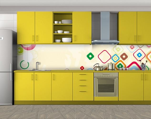 Кухонный фартук Разноцветные ромбы, Фотопечать кухонного фартука на самоклейке, Абстракции, бежевый