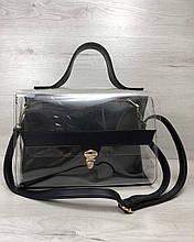 Сумка чорна жіноча портфель прозора силіконова через плече з косметичкою